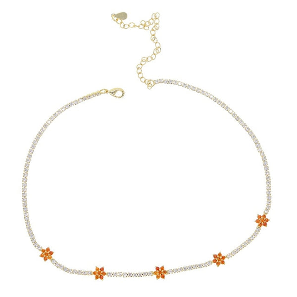 Diamond Tennis Cz Floral Chain