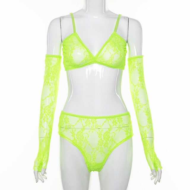 Neon Green Sexy Lace Lingerie Set