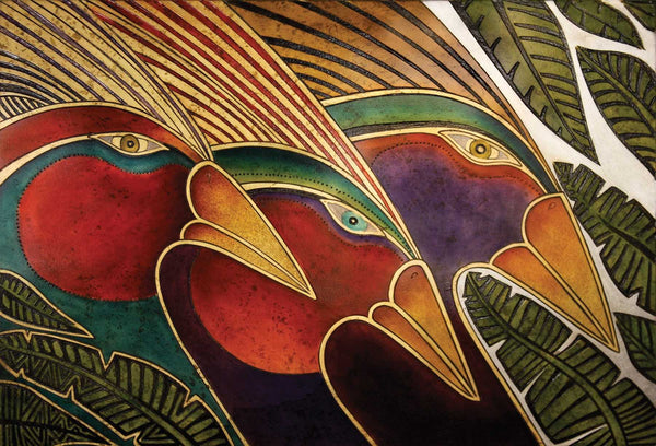 "Laurel Burch ""Birds from the Rainbow Forest"" Wall Décor with Carved Relief"