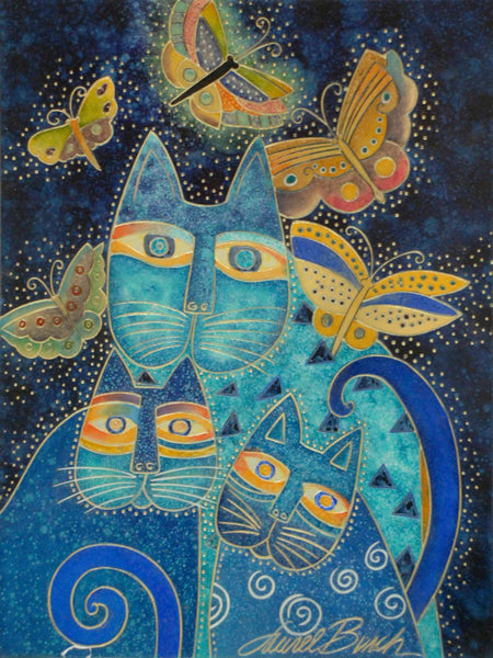 "Laurel Burch ""Blue Cats with Butterflies"" Wall Décor with Carved Relief"