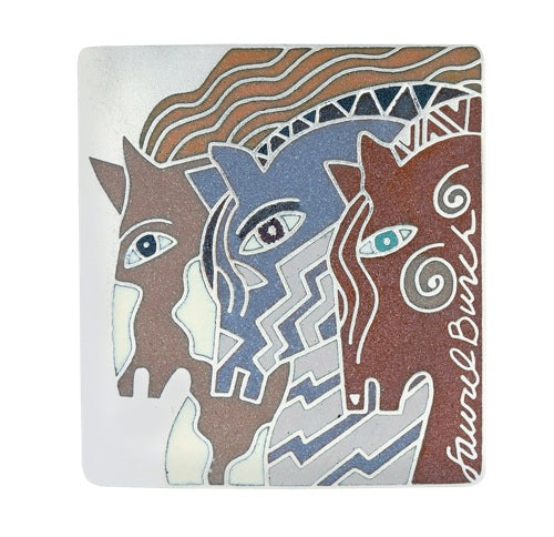 "Laurel Burch ""Moroccan Mares"" Cloisonne Pin, Earth Tones in Silver with Sandstone Finish"