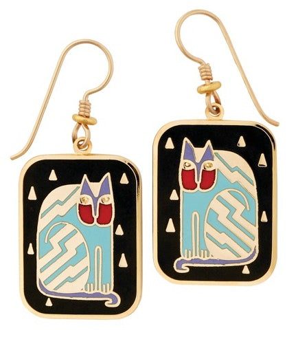 "Laurel Burch ""Fantasticat"" Cloisonne Drop Earrings in Black, Gold Shiny Finish"