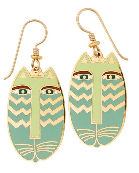 "Laurel Burch ""Native Cat"" Cloisonne Drop Earrings in Lime Green with Shiny Gold Finish"