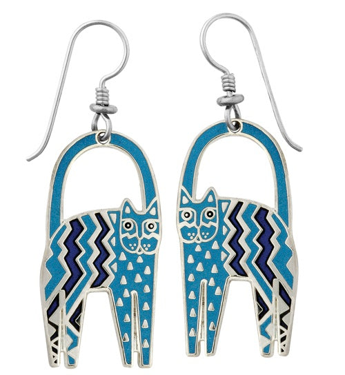 "Laurel Burch ""Zig Zag Cat"" Cloisonne Drop Earrings in Blues, Shiny Silver Finish"