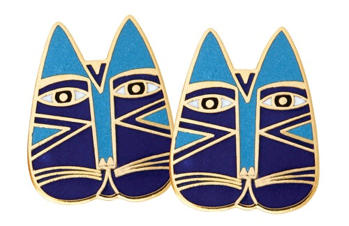 "Laurel Burch ""Gato"" Cloisonne Post Earrings in Blues with Gold"