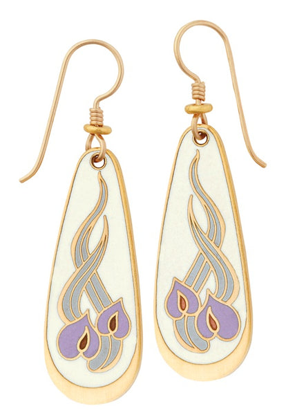 "Laurel Burch ""Wild Anthurium"" Cloisonne Drop Earrings in Ivory in Gold Sandstone Finish"