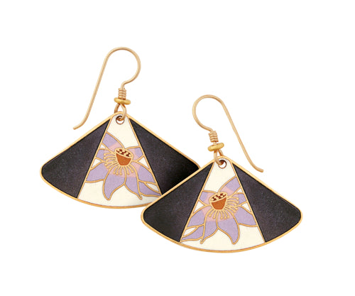 "Laurel Burch ""Lotus"" Cloisonne Drop Earrings in Grey and Lavender Gold Sandstone Finish"