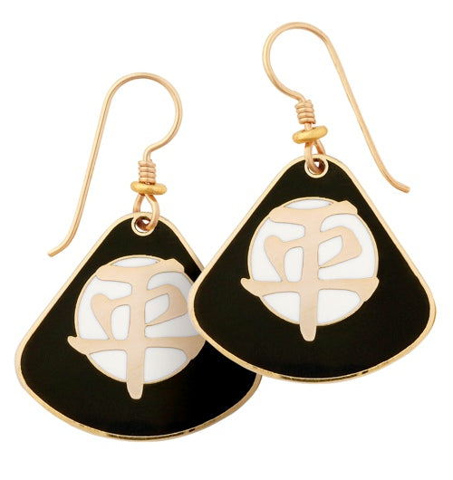 "Laurel Burch ""Tranquility"" Cloisonne Drop Earrings in Black and Ivory, Gold Shiny Finish"