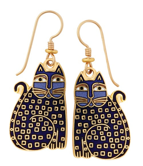 "Laurel Burch ""Indigo Kittens"" Cloisonne Drop Earrings in Gold"