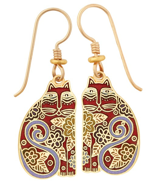"Laurel Burch ""Flowering Baby Feline"" Cloisonne Drop Earrings in Red, Gold Shiny Finish"