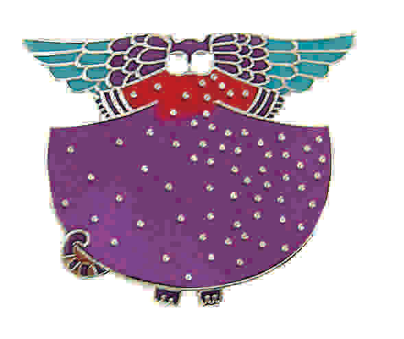 "Laurel Burch ""Angelicat"" Cloisonne Pin, Silver Shiny Finish"