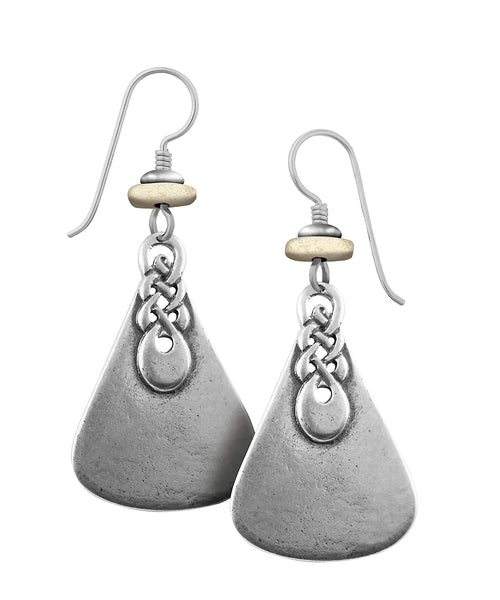 "Laurel Burch ""Obia Knots"" Cast Drop Earrings Antiqued Silver Finish"