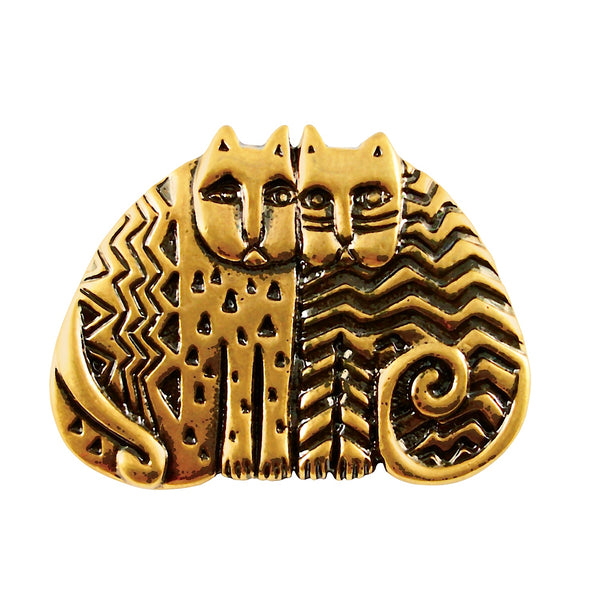 "Laurel Burch ""Kindred Cats"" Cast Pin, Antiqued Gold Finish"