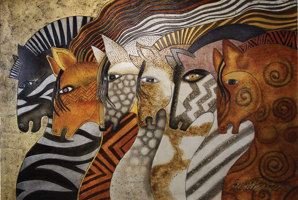 "Laurel Burch ""Moroccan Mares"" Wall Décor with Carved Relief"