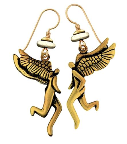 "Laurel Burch ""Soaring Spirits"" Cast Drop Earrings Antiqued Gold Finish"