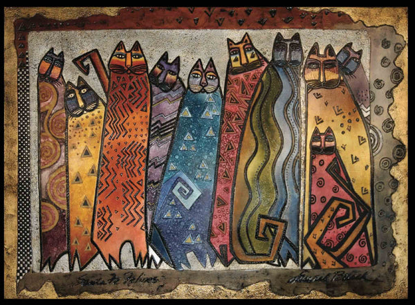 "Laurel Burch ""Santa Fe Felines"" Wall Décor with Carved Relief"