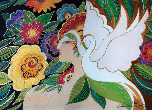 "Laurel Burch ""Swan Goddess"" Wall Décor with Carved Relief"