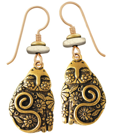 "Laurel Burch ""Flowering Feline"" Cast Drop Earrings in Gold Finish"