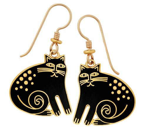 "Laurel Burch ""Keshire"" Cloisonne Drop Earrings in Black, Gold Finish"