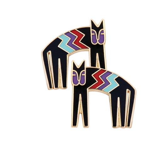 "Laurel Burch ""Coptic Cat"" Cloisonne Post Earrings in Black with Shiny Gold Finish"