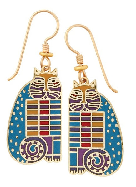 "Laurel Burch ""Quilted Cats"" Cloisonne Drop Earrings Gold Shiny Finish"