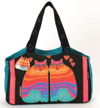 "Laurel Burch ""Rainbow Cats"" Medium Scoop Tote"