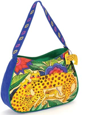"Laurel Burch ""Leopards of Shambala"" Medium Hobo"