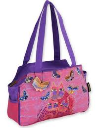 "Laurel Burch ""Fuchsia Cats and Flutterbyes"" Medium Tote"