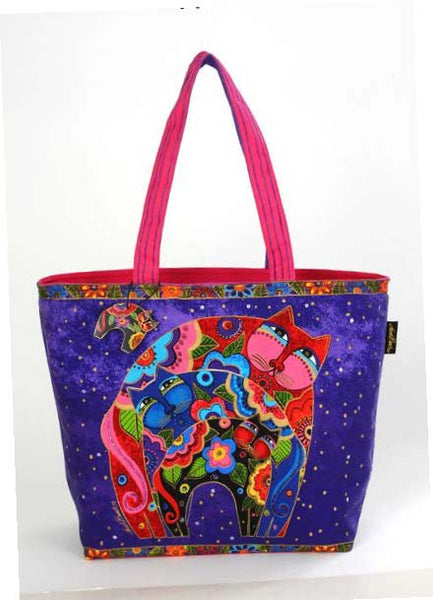 "Laurel Burch ""Blossoming Crescent Kitties"" Square Tote"