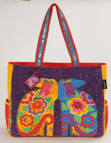 "Laurel Burch ""Flowering Canines"" Oversized Tote"