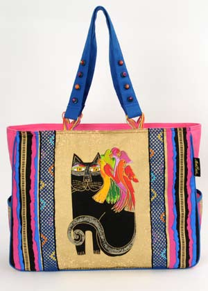 "Laurel Burch ""Ebony Cat with Parrots"" Oversized Tote"