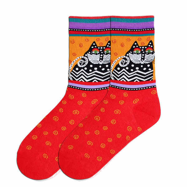 "Laurel Burch ""Polka Dot Cat"" Crew Socks in Red"