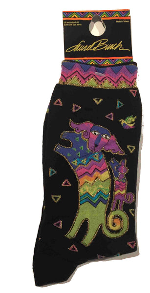 "Laurel Burch ""Playing Dog and Puppy"" Crew Socks in Black"