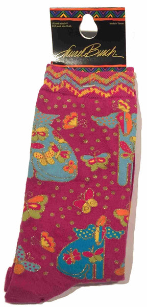 "Laurel Burch ""Papillon"" Crew Socks in Fuchsia"