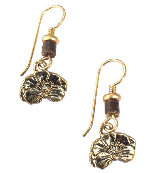 "Laurel Burch ""Plum Blossom"" Drop Earrings, Antiqued Gold"