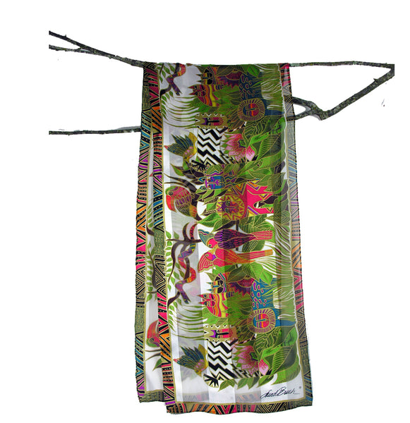 "Laurel Burch ""Dawn in the Secret Jungle"" Silk Scarf in White"