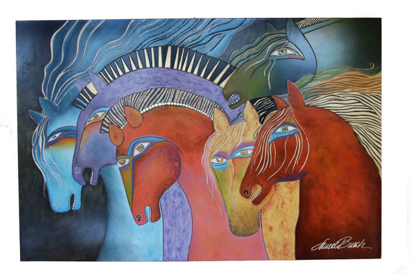 "Laurel Burch ""Wild Horses at Dusk"" Wall Décor with Carved Relief"