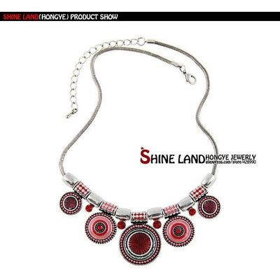 Ethnic Necklace Silver Plated - MUSEAE