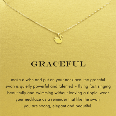 Necklace Graceful Swan Gold Dipped - MUSEAE