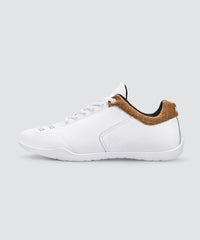 Side view of white AKIN driving shoe for car enthusiasts.