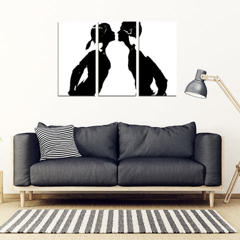 KISS ME 3 Piece Framed Canvas