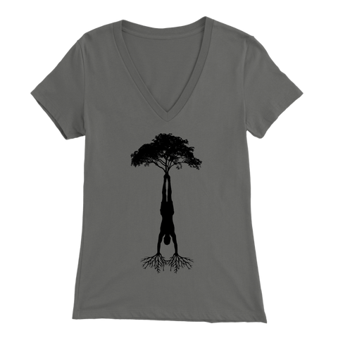 HandStand Tree Bella V-Neck Womens