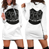 Not Kitten' Around Hoodie Dress - White
