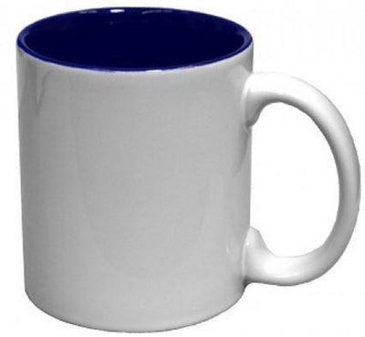 White/Blue 11oz Two Tone Ceramic Coffee Mug