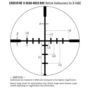 Vortex Crossfire II Dead-Hold BDC Reticle Subtensions