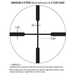 Vortex Crossfire II 2-7x32 Scout Riflescope V-Plex Reticle subtensions