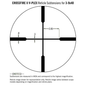 Vortex Crossfire II 3-9x40 Riflescope V-Plex Reticle subtensions