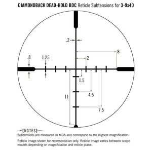 Vortex Diamondback 3-9x40 Riflescope Dead-Hold BDC Reticle subtensions