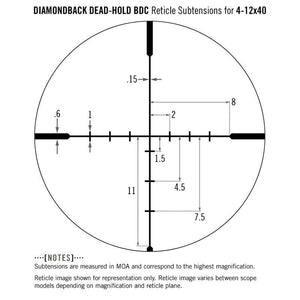 Vortex Diamondback 4-12x40 Riflescope Dead-Hold BDC Reticle subtensions