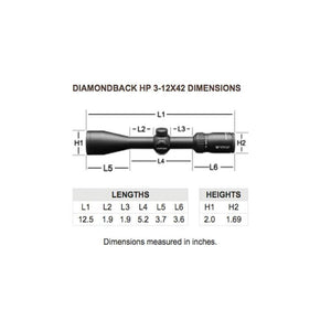 Vortex Diamondback HP 3-12x42 SF Riflescope with Dead-Hold BDC Reticle measurements